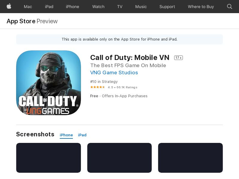 Call of Duty VN CPI IOS (non-incent) *KPI
