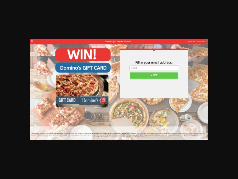 YOUSWEEPS Win a Domino's Pizza Gift Card (US)