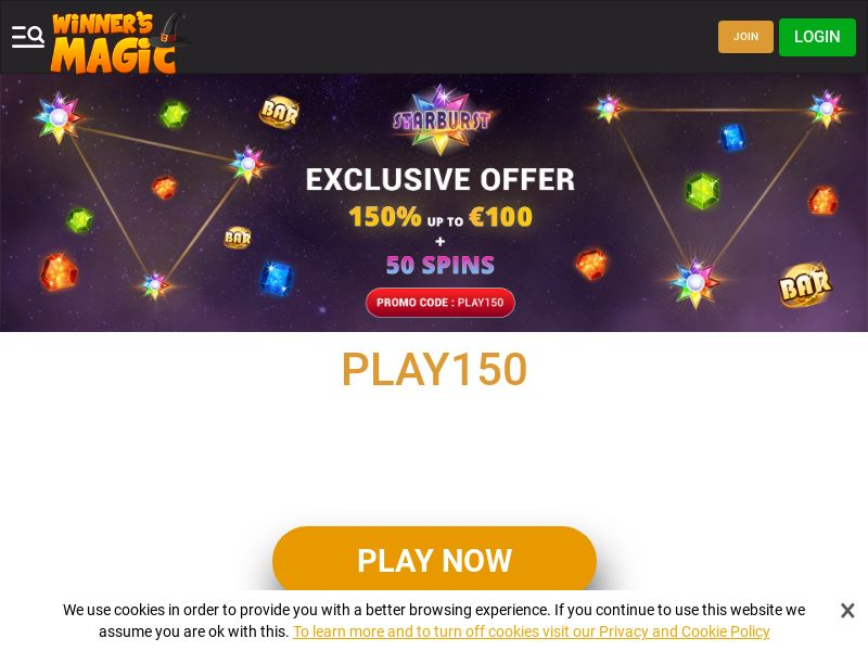 Winners Magic Casino - Exclusive offer PLAY150 - CPA | NZ, IE, SLO
