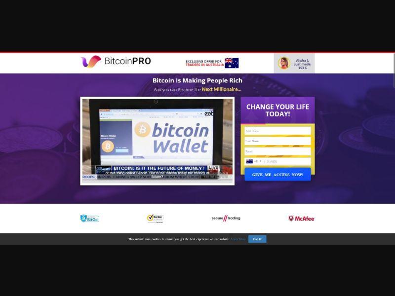 Bitcoin PRO - $250 min CTC - VSL - Crypto - SS - [74 GEOs]