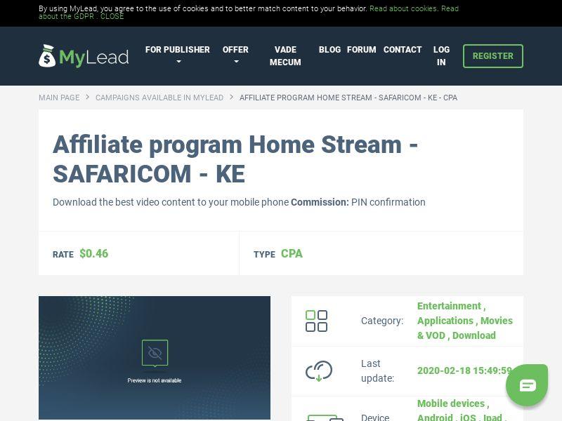 Home Stream - SAFARICOM - KE (KE), [CPA], Entertainment, Applications, Movies & VOD, Download, Confirm PIN, app, mobile, cinema, tv, series, film, stream, file, files, cpi