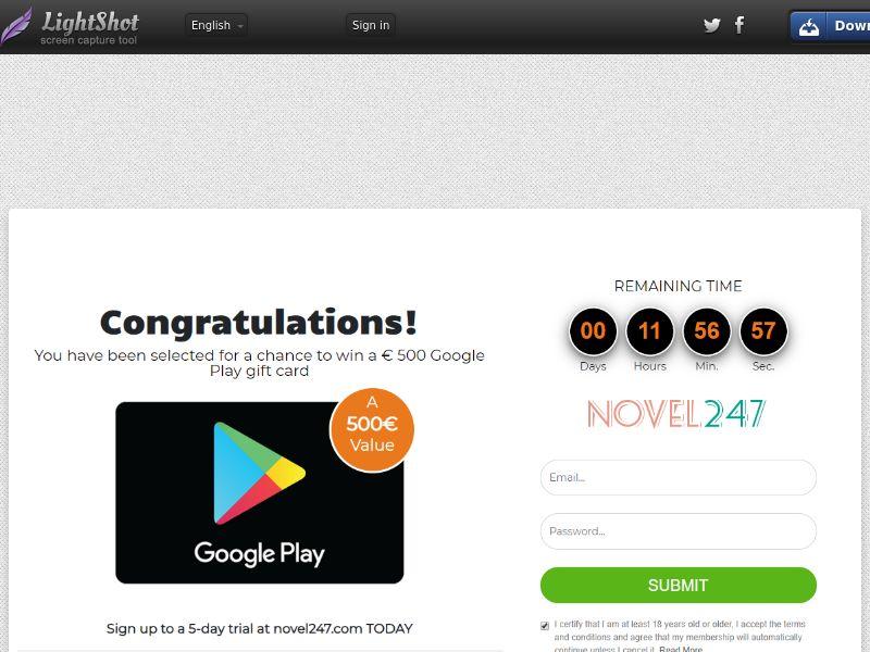 Sugar Beats Win Google Play Gift Card (Sweepstake) (CC Trial) - Belgium