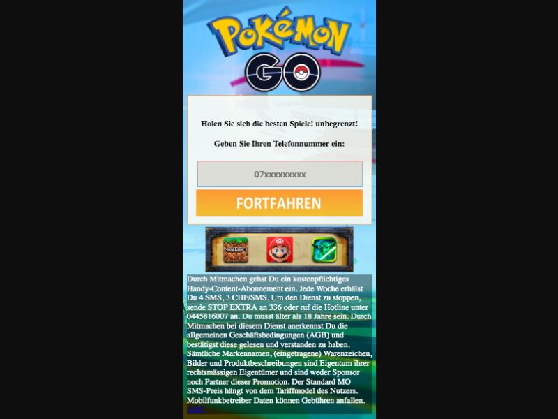 Pokemon Go - SMS flow - CH - Online Games - Mobile