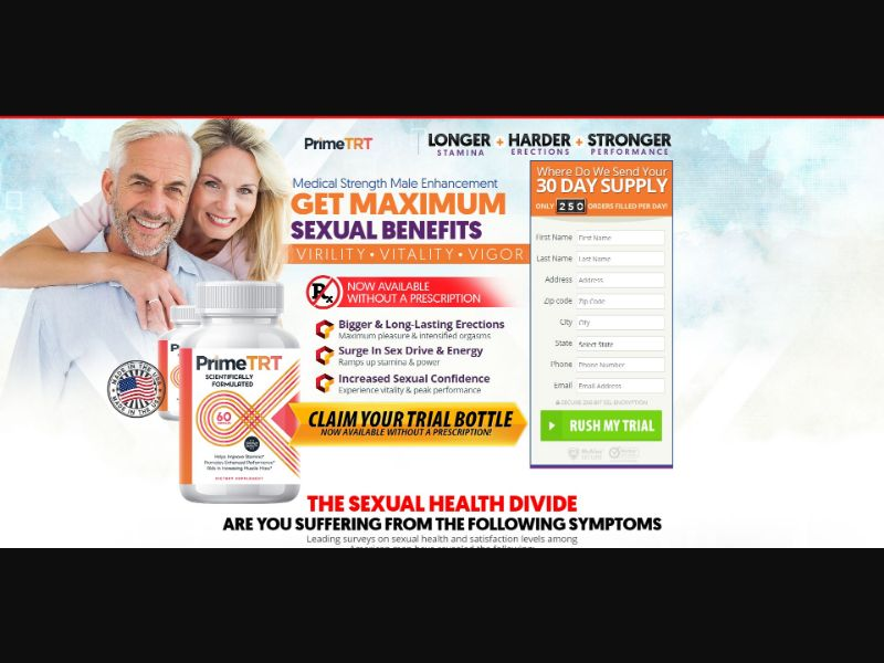 Prime TRT - Male Enhancement - Trial - [US (No California), CA] - with 1-Click Upsell [Step1 $27.20 / Upsell $27.20]