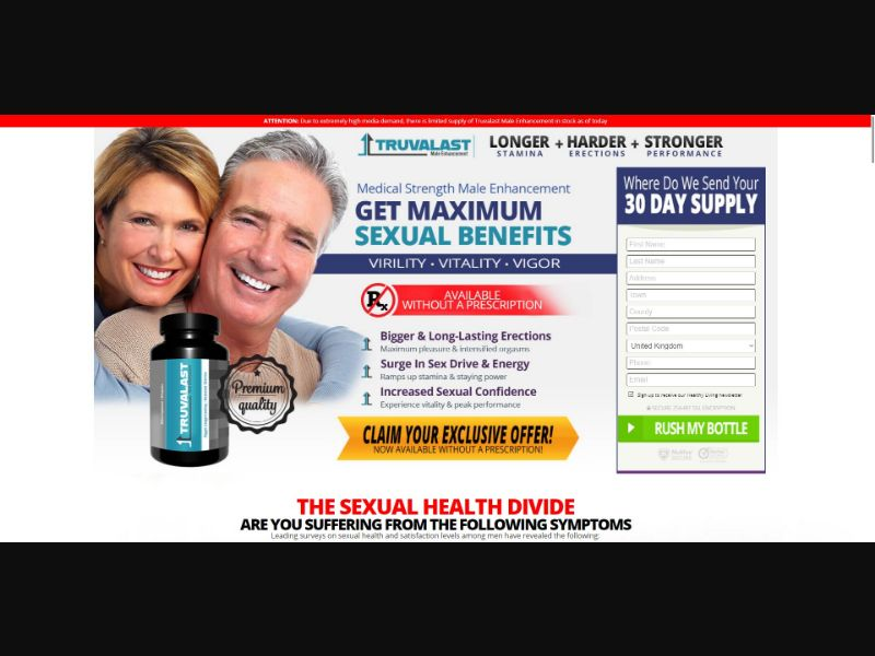Truvalast - Male Enhancement - Trial - [UK] - with 1-Click Upsell [Step1 $27.20 / Upsell $25.50]