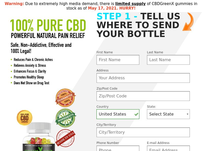 Green X CBD Gummies (CC Submit) - Health/CBD - US