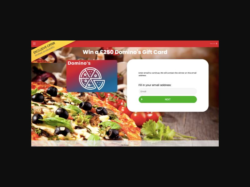 YOUSWEEPS Win a Domino's Pizza Gift Card (UK)