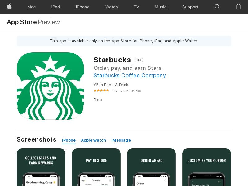 Starbucks Rewards IOS US IDFA APPNAME IMPRESSIONS