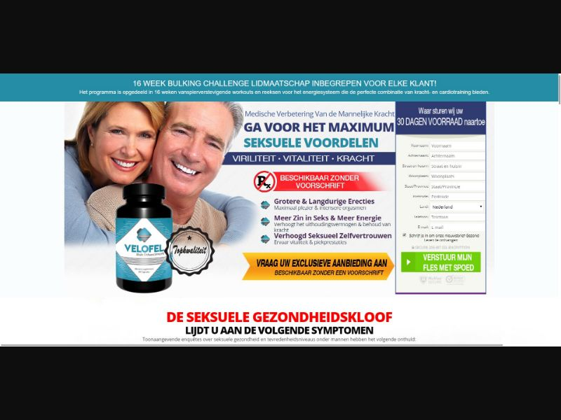 Velofel - Male Enhancement - Trial - NO SEO - [NL] - with 1-Click Upsell [Step1 $27.20 / Upsell $25.50]