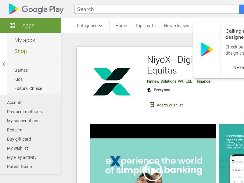 NiyoX Saving Account Android CPA - India
