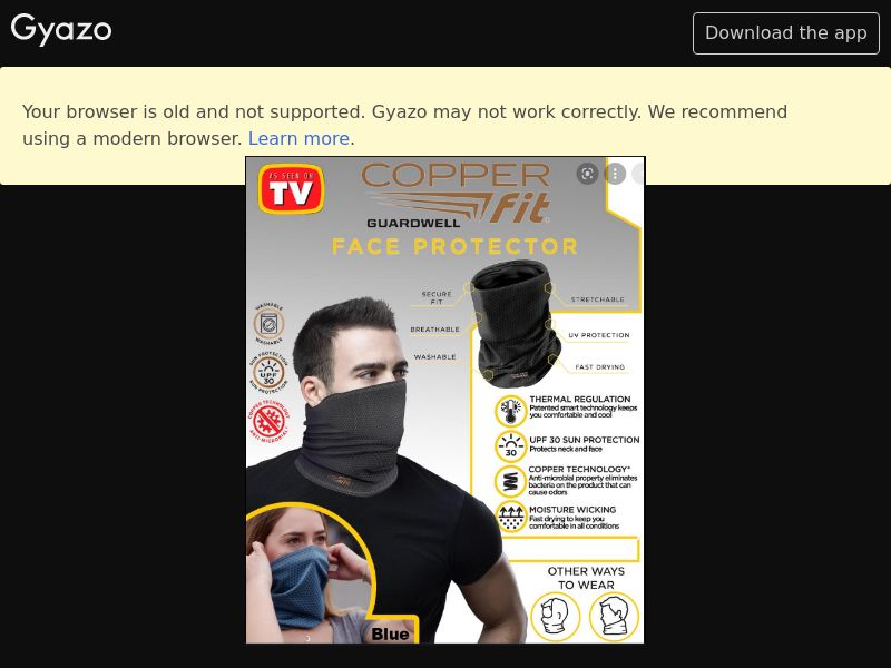 As Seen On TV - Copper Fit GuardWell Face Protector (US) (CPS) (Email) (Personal Approval)