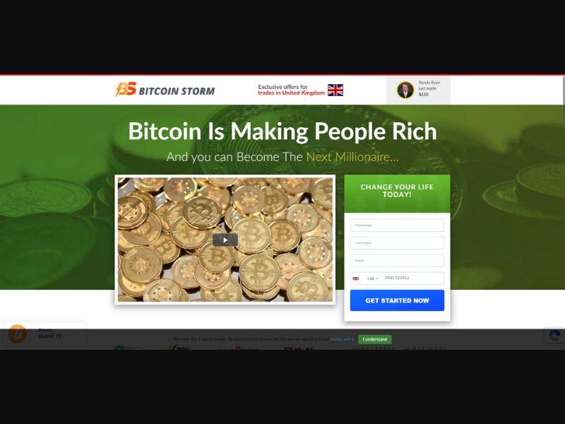 Bitcoin Storm - $250 min CTC - VSL - Crypto - SS - [13 GEOs]