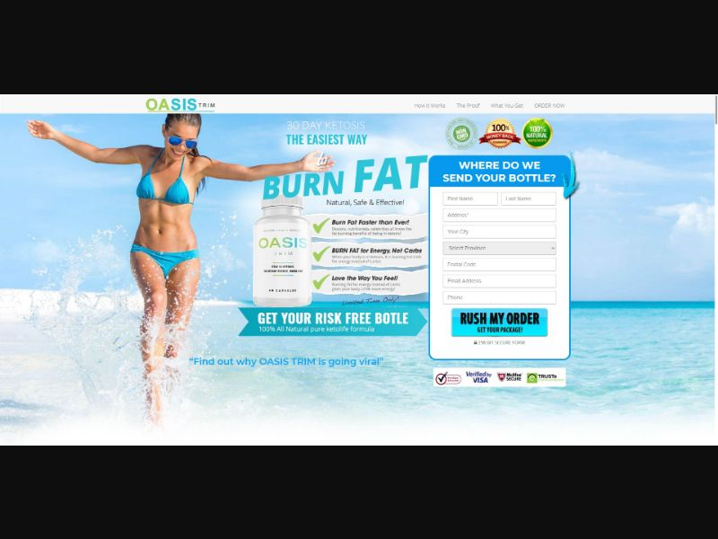 Oasis Trim - Diet & Weight Loss - Trial - [CA] - with 1-Click Upsell [Step1 $31.45 / Upsell $31.45]