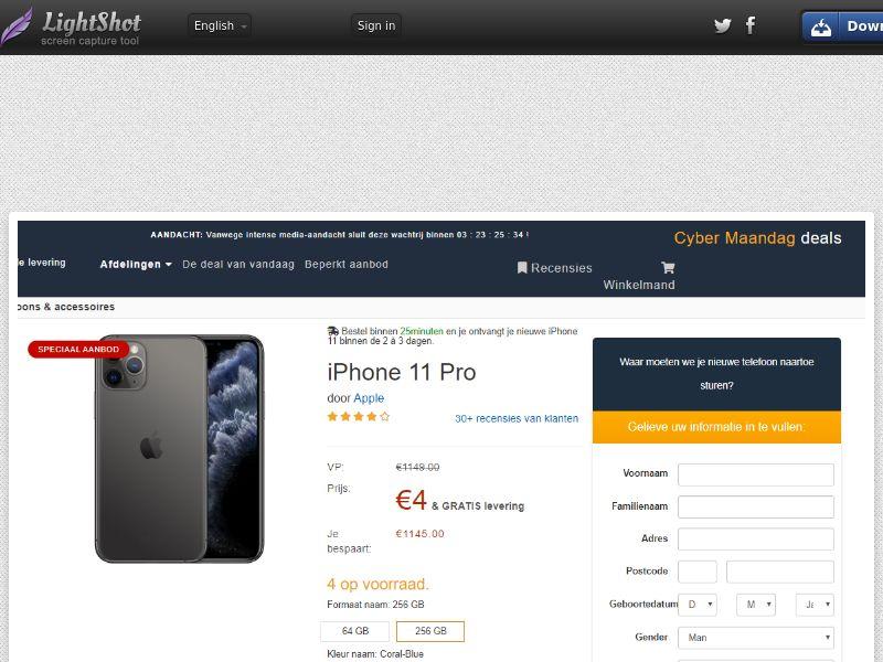 Gruwel iPhone 11 Pro (Amazon) (Sweepstake) (CC Trial) - Netherlands