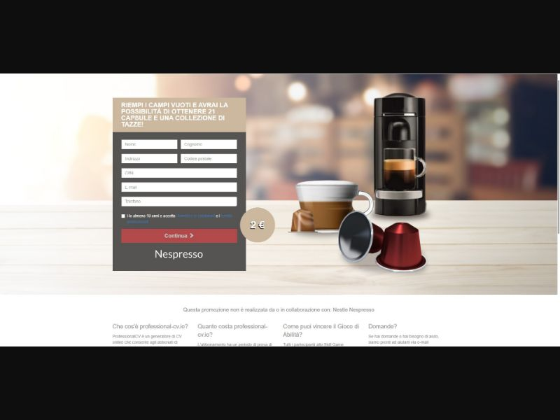 Nespresso Original Capsules - Sweepstakes & Surveys - Trial - [IT]