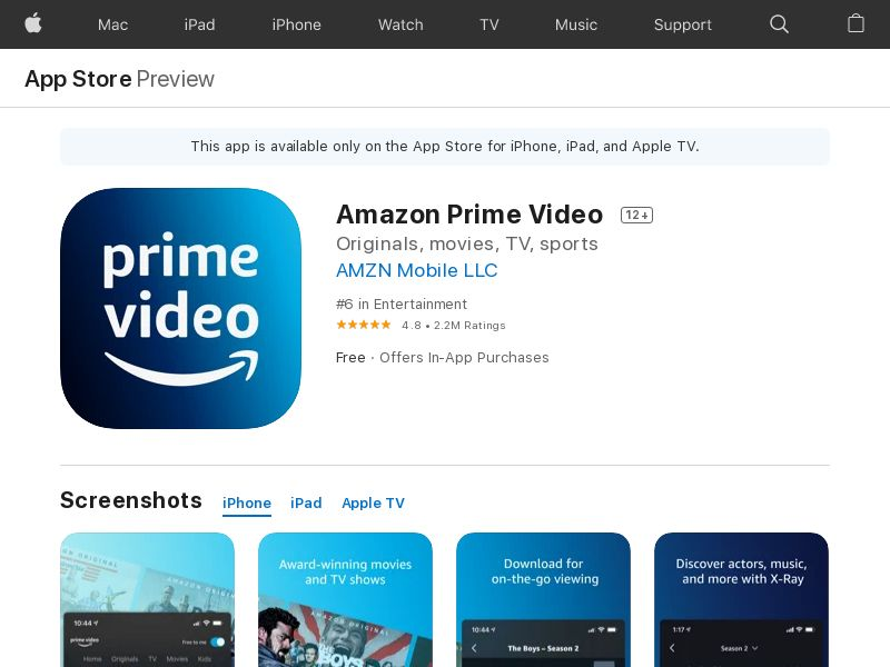 Amazon Prime Video iOS IN IDFA APPNAME