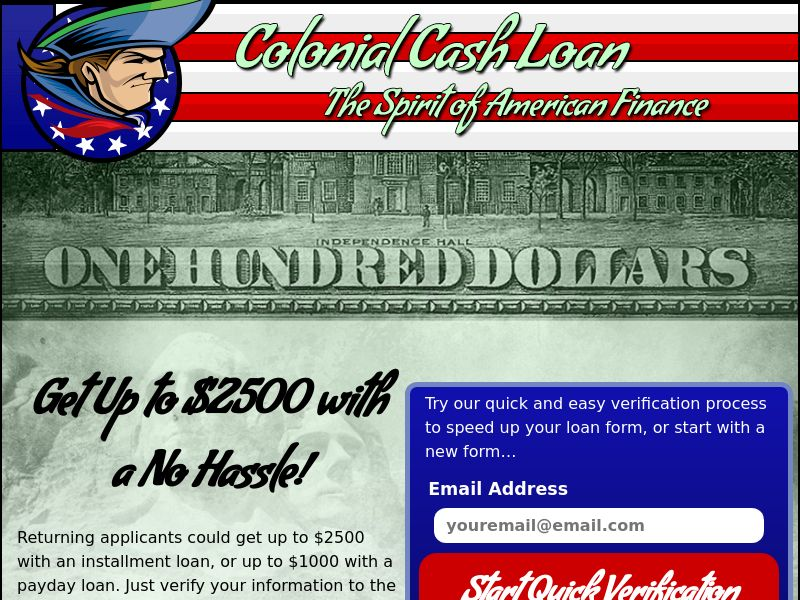 Colonial Cash Loan US (RevShare) Non Incent
