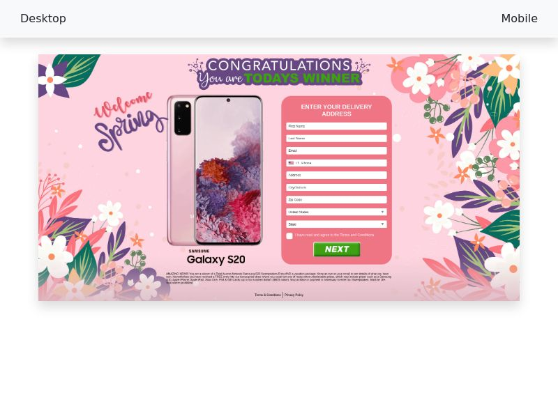 CC-submit - Samsung Galaxy S20 Sweepstakes (Spring 2020 - Pink) - CPA [US]