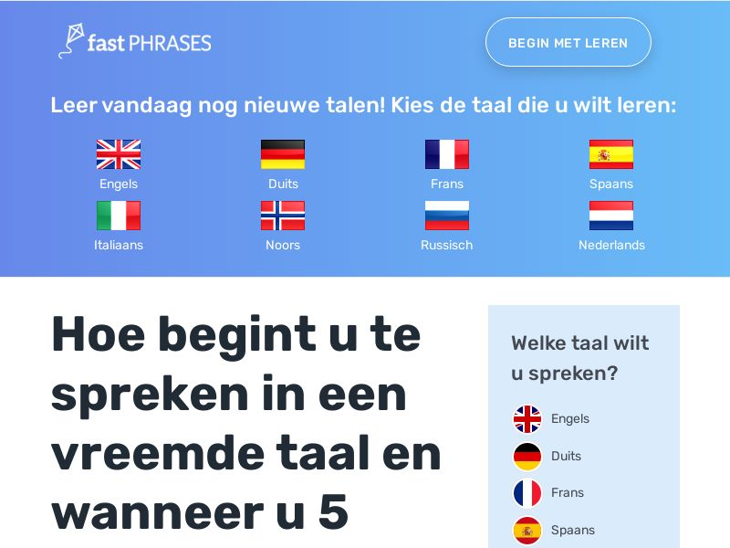Fast Phrases - Learn New Languages - (English, Spanish, French, etc.) (RevShare 50% with Rebills) - Netherlands