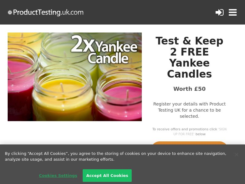 Product Testing - Test & Keep a FREE Yankee Candle [UK]