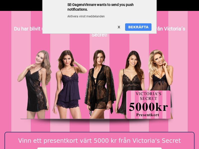 Sweepstake Win 5000Kr Victoria's Secret Gift Card - SOI CPL - [SE]