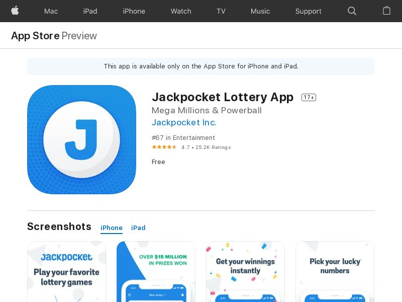 Jackpocket Lottery App iOS CPE(State Target)