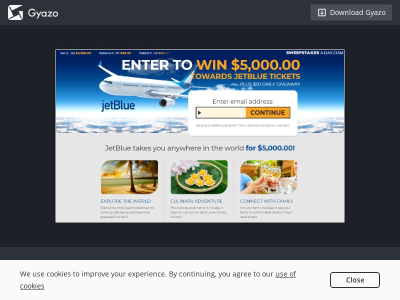 Sweepstakes a Day - Jet Blue $5000 US   Email Submit