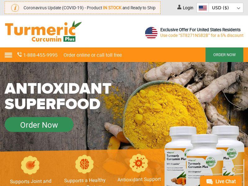 VitaPost Turmeric Curcumin Plus   Natural Superfood Supplement