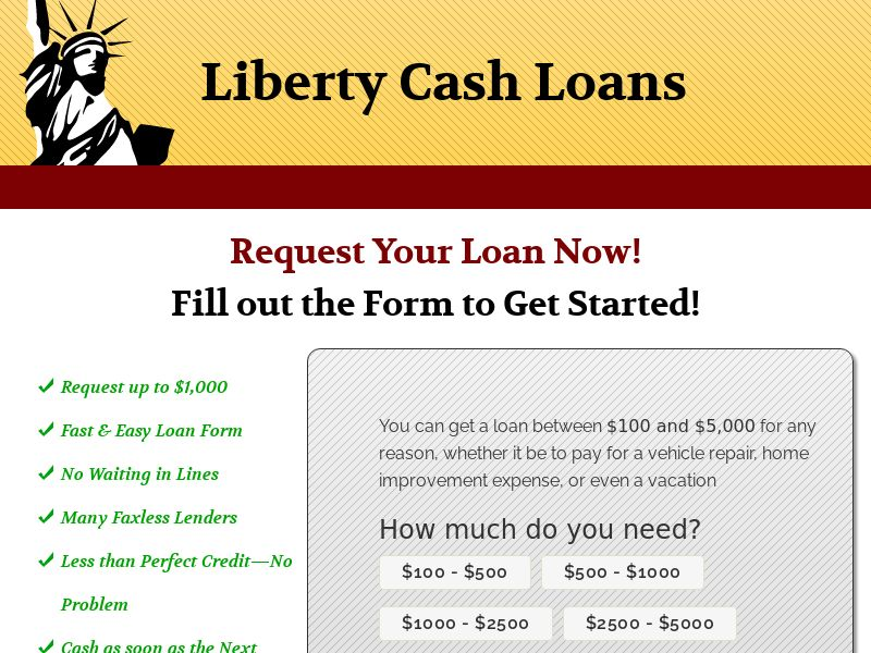 Liberty Cash Loans (US/State Targeted) (Non-Incent) - NET30 Advertiser