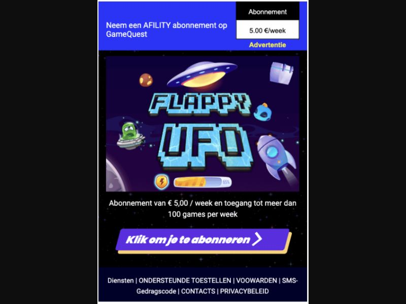 Flappy UFO - 2 Click - NL - Online Games - Mobile