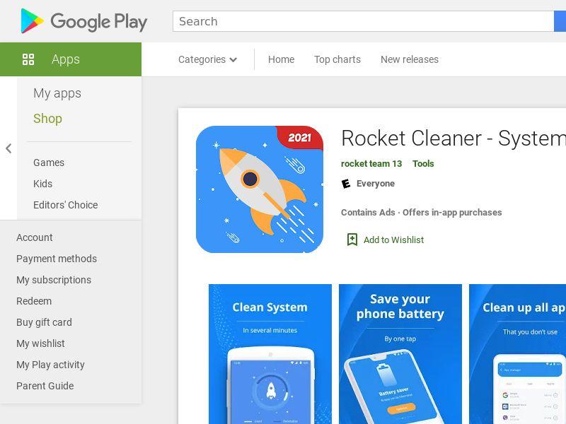 Rocket Cleaner Android UK 0.6$ [prelander]