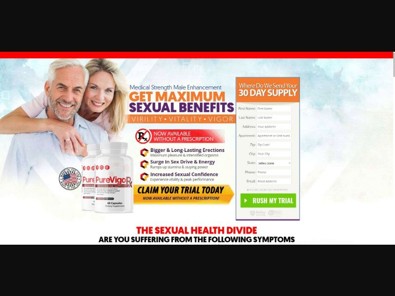 Pure Vigor X Testosterone Support - Male Enhancement - Trial - NO SEO - [US] - with 1-Click Upsell [Step1 $19.5 / Upsell $19.5]