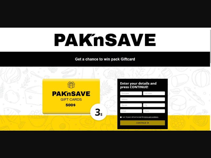 Pak 'n Save Giftcard - Sweepstakes & Surveys - Trial - [NZ]