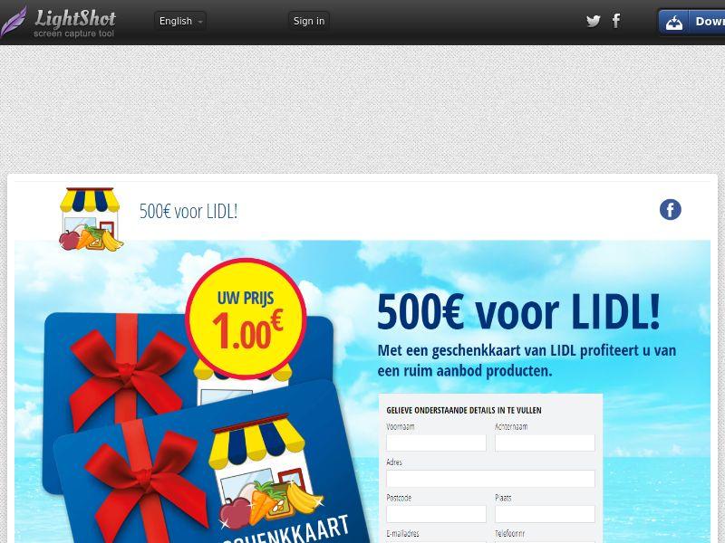 winlotsofthings 500€ LIDL Giftcard (Sweepstake) (CC Trial) - Belgium (BEnl)