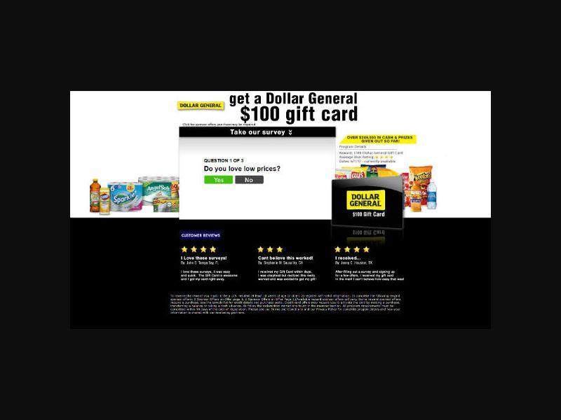 Retail Rewards Club - $100 Dollar General - SOI (US)