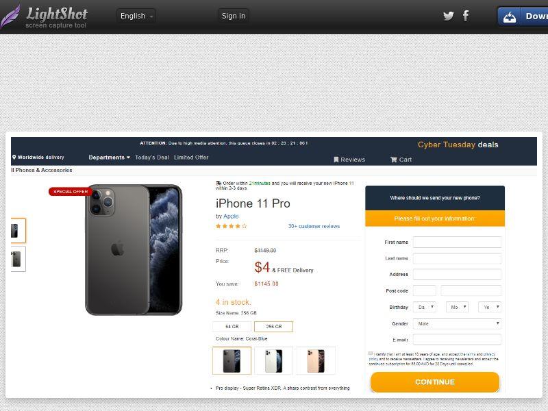 Gardenhut iPhone 11 Pro (Amazon) (Sweepstake) (CC Trial) - Australia [AU]
