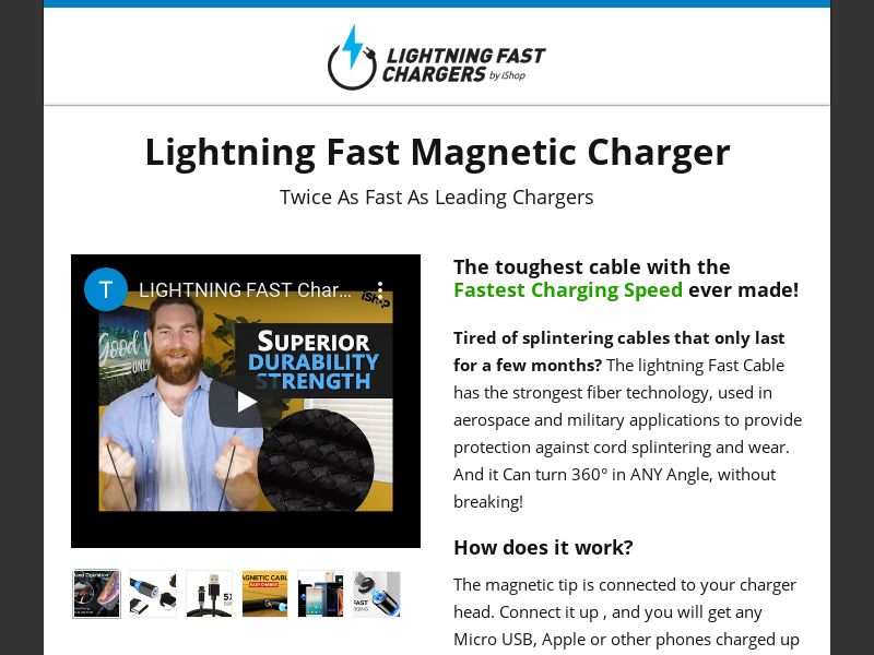 Lightning Fast Charging Cable [US] (Native,Social,Banner) - CPA {No Email}