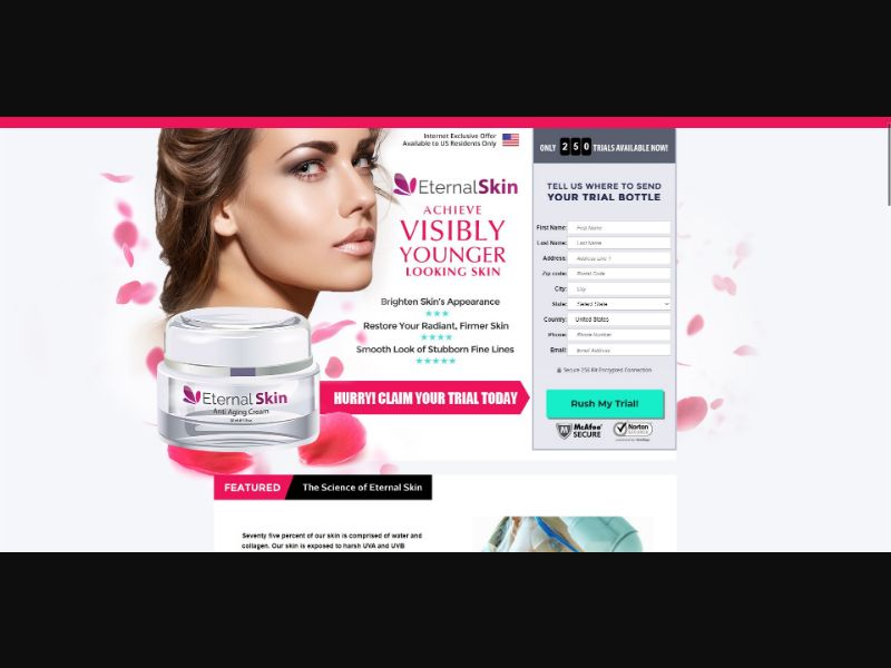 Eternal Skin Anti Aging Cream - Skin Care - Trial - [US] - with 1-Click Upsell [Step1 $26 / Upsell $26]