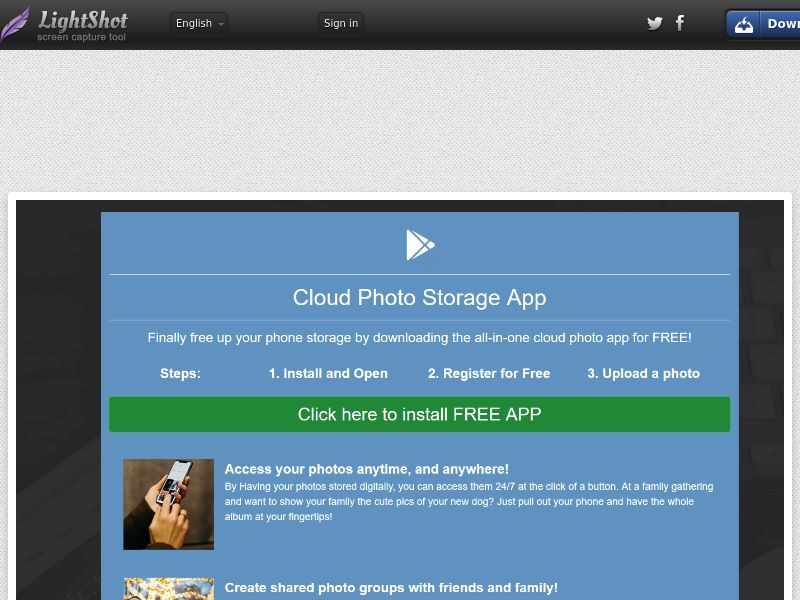 Cloud Photo Storage App Android CPE - US - Incent