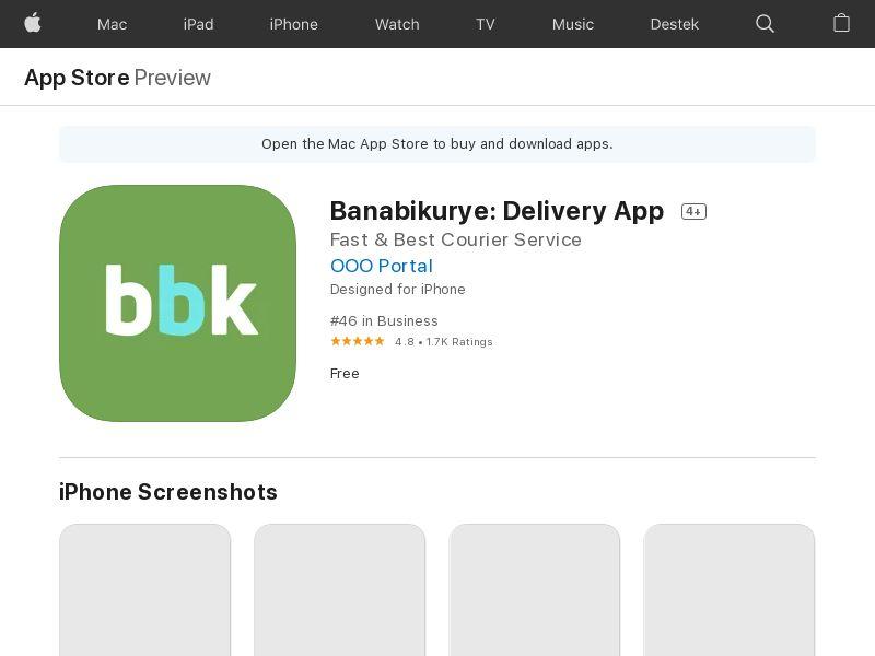 Banabikurye: Courier Delivery App - iOS (TR) (CPA)
