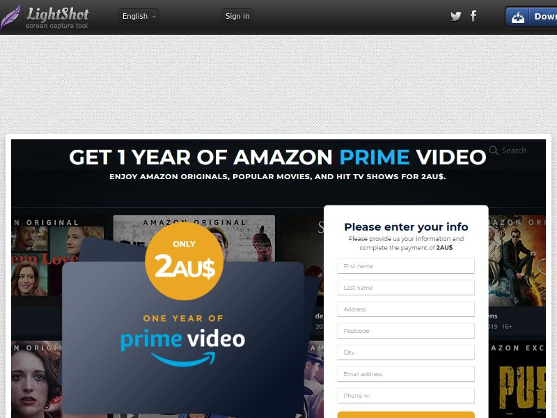winlotsofthings Prime Video (Streaming) (CC Trial) - New Zealand [NZ]