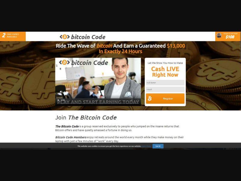 Bitcoin Code - $250 min CTC - VSL - Crypto - SS - [50 GEOs]