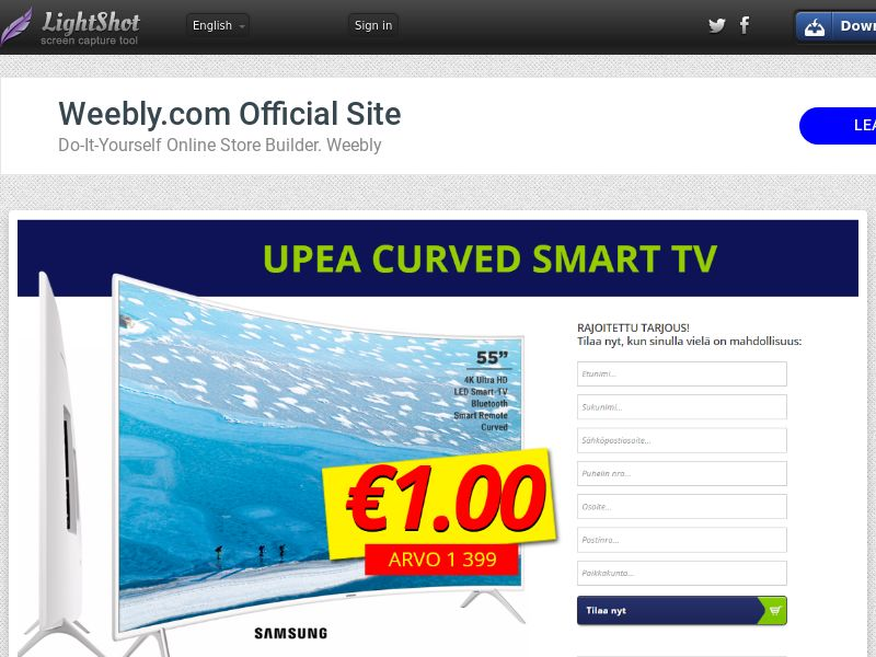 winlotsofthings Curved TV (Sweepstake) (CC Trial) - Finland [FI]