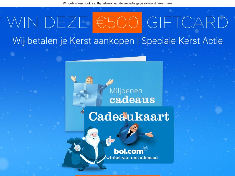 BOL.com Xmas Voucher - NL (NL), [CPL], Lotteries and Contests, Single Opt-In, paypal, survey, gift, gift card, free, amazon