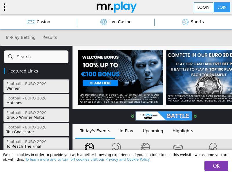 mr.play Sports Offers you a Bet £10 Get £10 Free Bet Bonus