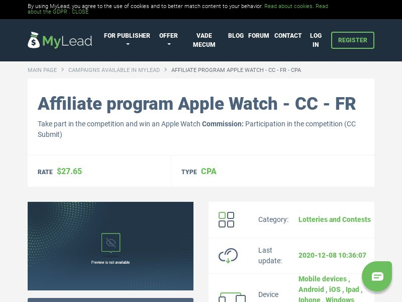Apple Watch - CC - FR (FR), [CPA], Lotteries and Contests, Credit Card Submit, paypal, survey, gift, gift card, free, amazon
