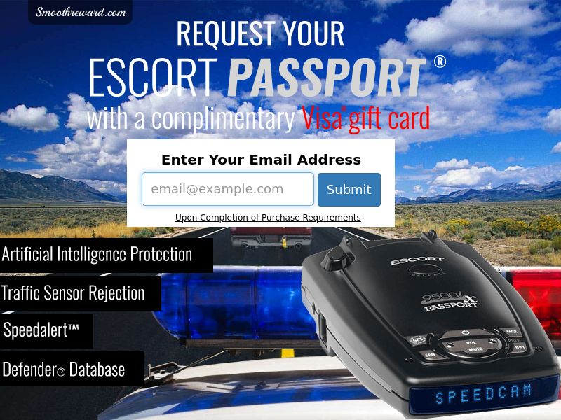 Incent - Email Submit Radar Detector - US