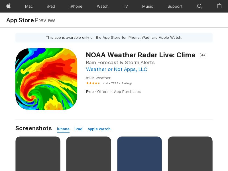 NOAA Weather Radar Live - IOS US *redirects only with IDFA* (CPI)