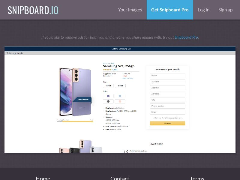 39856 - CA - CreditSupport - Samsung S21 - CC submit