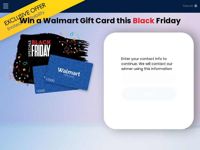 US - Win a walmart gift card Black Friday